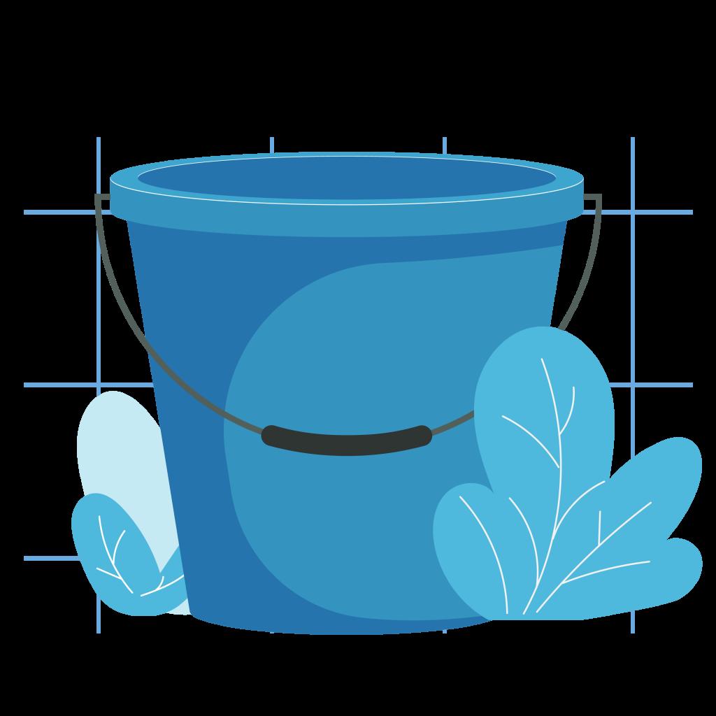 Mempersiapkan ember untuk mencampur