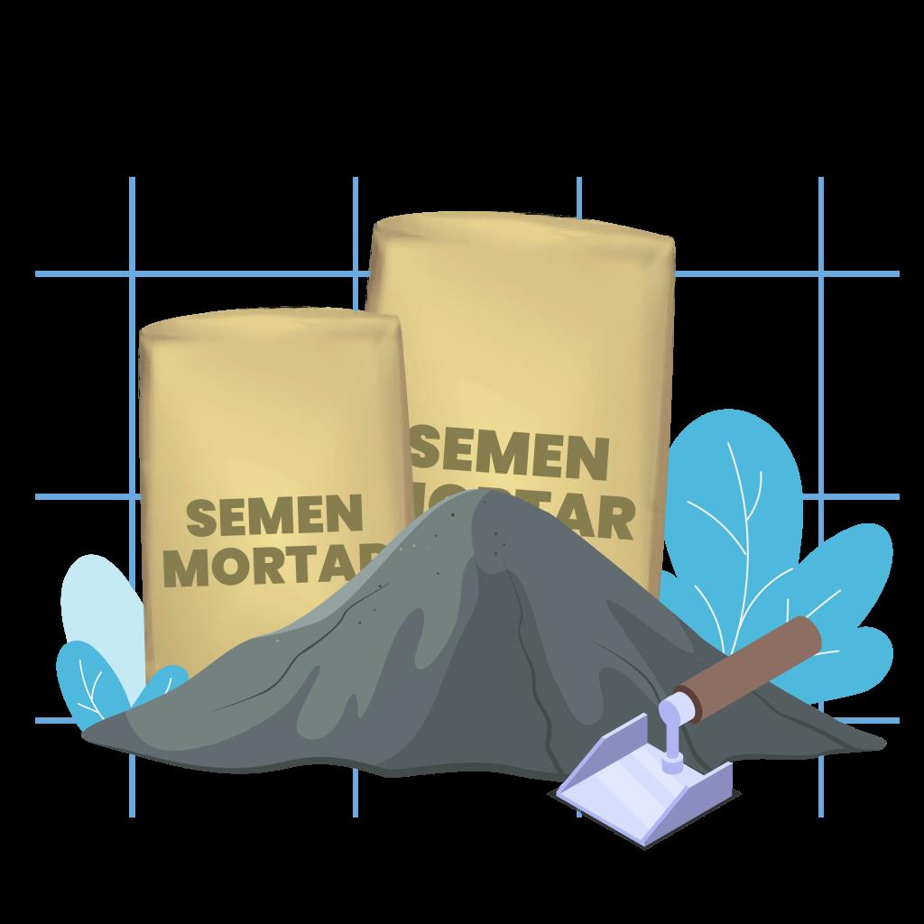 Tekstur semen mortar yang benar
